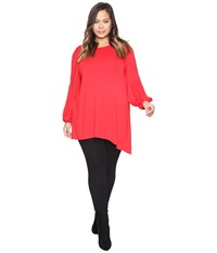 Vince Camuto Plus Size Beaded Sleeve Asymmetrical Hem Top Fire Glow Women's Clothing Red