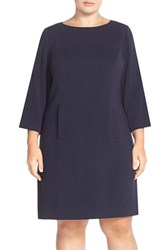 Plus Size Women's Eliza J Pocket Detail Shift Dress Navy