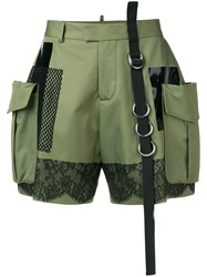 Dsquared2 High Waisted Cargo Shorts Green