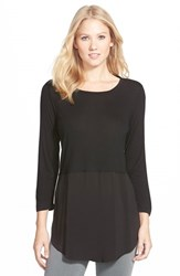 Vince Camuto Women's Two By Mixed Media Jewel Neck Tunic Rich Black