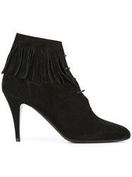 Saint Laurent Fringe Trim Ankle Boots Black