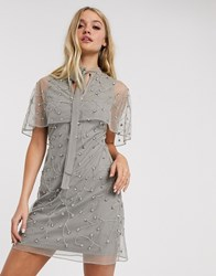 Frock And Frill Embellished Detail Cape Dress Grey