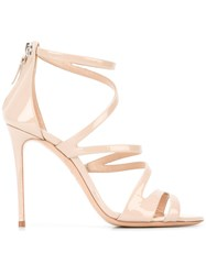Casadei Open Toe Strappy Sandals Women Leather Patent Leather Kid Leather 38 Nude Neutrals