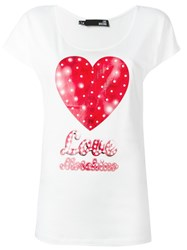 Love Moschino Heart Print T Shirt White