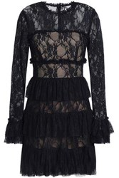 Bailey 44 Ruffled Lace Mini Dress Midnight Blue