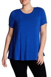 Chelsea And Theodore Short Sleeve Back Keyhole Blouse Plus Size Blue
