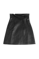 Victoria Victoria Beckham High Waisted Leather Skirt Black
