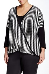 Halo Striped Crossover Blouse Plus Size Black