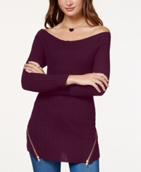 Material Girl Juniors' Rib Knit Zipper Detail Tunic Sweater Only At Macy's Zinfandel
