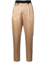 Fleur Du Mal Cropped High Waisted Trousers Gold