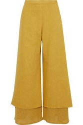 Simon Miller Yarnell Layered Cotton Twill And Open Knit Wide Leg Pants Mustard