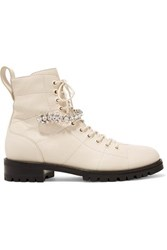 Jimmy Choo Cruz Crystal Embellished Textured Leather Ankle Boots Ivory