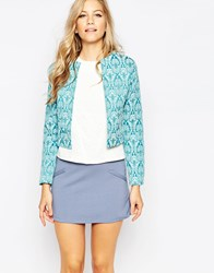 Closet Cropped Jacquard Jacket Blue