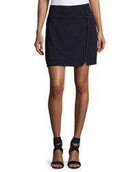 Max Studio Textured Double Cloth Skirt Navy