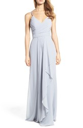 Hayley Paige Occasions Women's Chiffon Gown Platinum