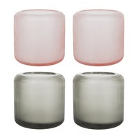 A By Amara Dixie Glass Votives Set Of 4 Grey Peach