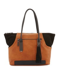 French Connection Camden Suede Trim Tote Bag Gray Black