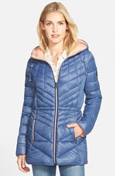 Petite Women's Bernardo Packable Hooded Coat With Down And Primaloft Fill Dreamy Blue Coral Haze