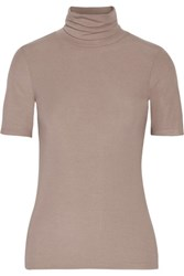 Theory Naneik Ribbed Stretch Jersey Turtleneck Top Taupe