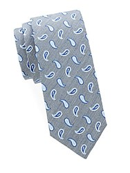 Saks Fifth Avenue Paisley Silk Tie Grey