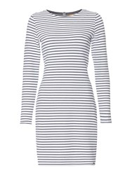 Hugo Boss Damarina Striped Fitted Dress Dark Blue