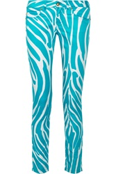 Versus Mid Rise Zebra Print Stretch Cotton Skinny Pants
