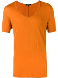 Unconditional Loose Scoop Neck T Shirt Men Rayon L Yellow Orange