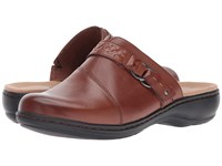 Clarks Leisa Sadie Dark Tan Leather Clog Shoes Brown