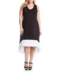 Karen Kane Plus Colorblocked Hi Lo Dress Black White