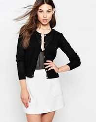 Yumi Button Front Cardigan Black