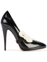 Gucci Patent Pumps With Removable Pearl Embellished Bow Women Leather 38.5 Black