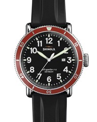 48Mm Runwell Sport Chronograph Watch With Rubber Strap Black Red Shinola