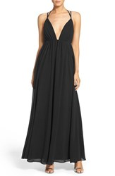 Lulus Women's Lulu's Strappy Plunging V Neck Empire Gown Black