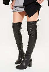 Missguided Black Faux Leather Heeled Over The Knee Boots