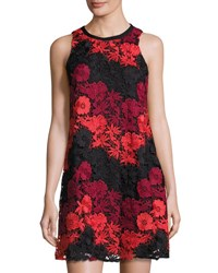 Taylor Embroidered Lace Overlay Trapeze Dress Scarlet Wi