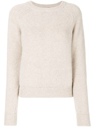Saint Laurent Crew Neck Jumper Nude And Neutrals