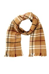 Amicale Acrylic Plaid Scarf Brown