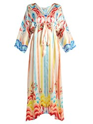 Temperley London Nymph Abstract Print Silk Dress White Multi