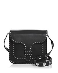 Rebecca Minkoff Midnighter Large Leather Messenger Black Silver