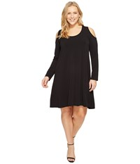 Karen Kane Plus Size Cold Shoulder Trapeze Dress Black Women's Dress