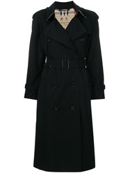 Burberry Long Heritage Trench Coat Cotton Viscose Black