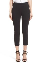 St. John Ankle Zip Milano Knit Capri Leggings Black