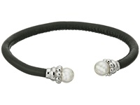 Majorica 8Mm Leather Steel Bracelet Black White Bracelet