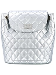Designinverso Quilted Backpack Women Pvc Metal One Size Grey