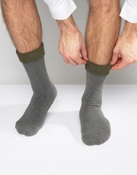 Asos Slipper Socks In Charcoal With Khaki Roll Top Charcoal Grey
