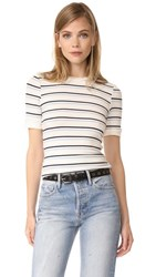 Frame 70S Double Stripe Fitted Tee Off White Multi