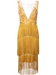 Marchesa Notte Floral Embroidery Fringed Dress Gold