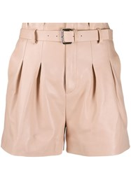 Red Valentino Paperbag Leather Shorts Pink