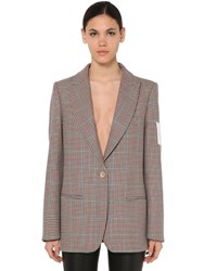 Off White Checked Wool Jacket Brown