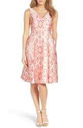 Adrianna Papell Women's Aztec Jacquard Tea Length Dress